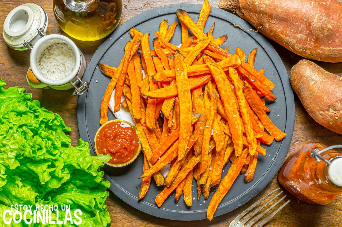 Receta de patatas fritas de boniato al horno (sweet potato fries)