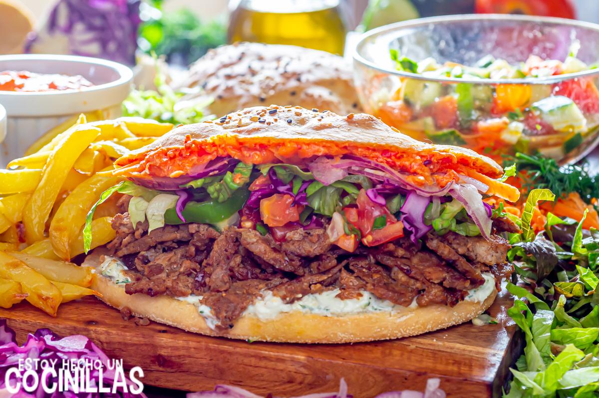 Döner kebab casero