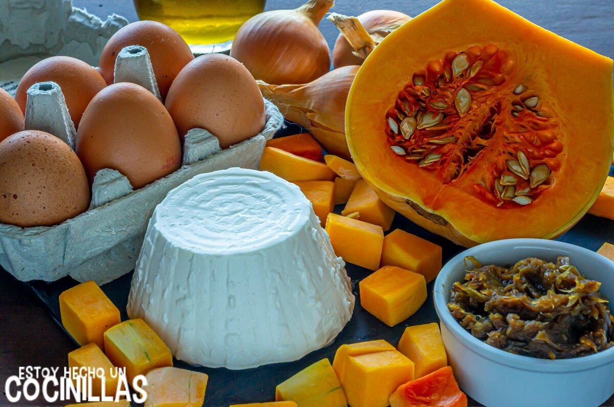 Ingredientes para la quiche de calabaza con cebolla caramelizada, ricotta y parmesano