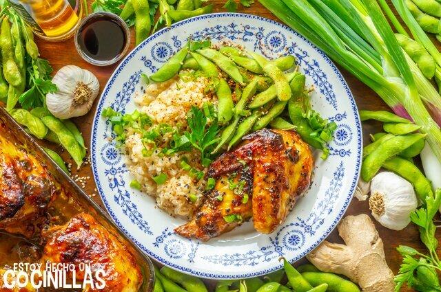 Receta de pollo al horno marinado con soja, ajo y jengibre