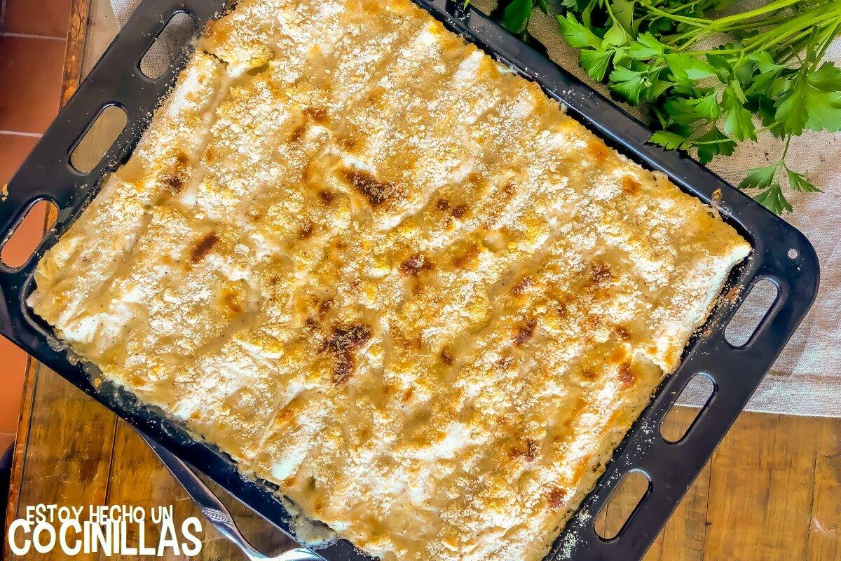 Canelones de pavo con bechamel de trufa y parmesano