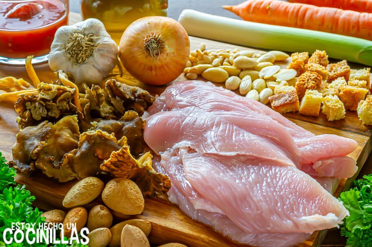 Fricandó de pavo con setas (ingredientes)