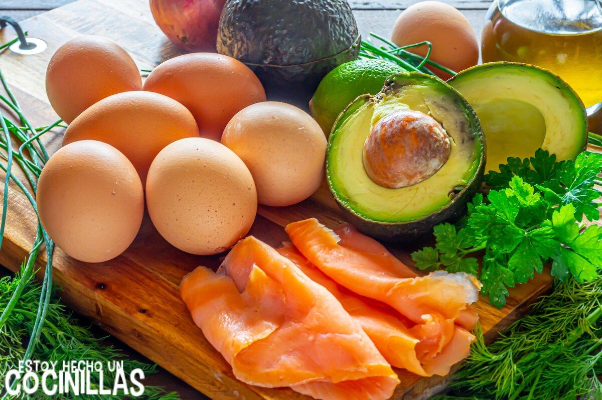 Ingredientes Huevos rellenos de salmón y aguacateh