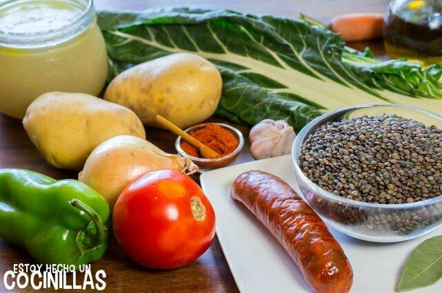 Ingredientes de lentejas con acelgas y chorizo