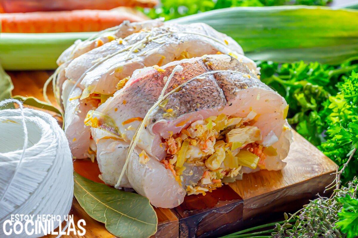 Ingredientes merluza rellena de marisco