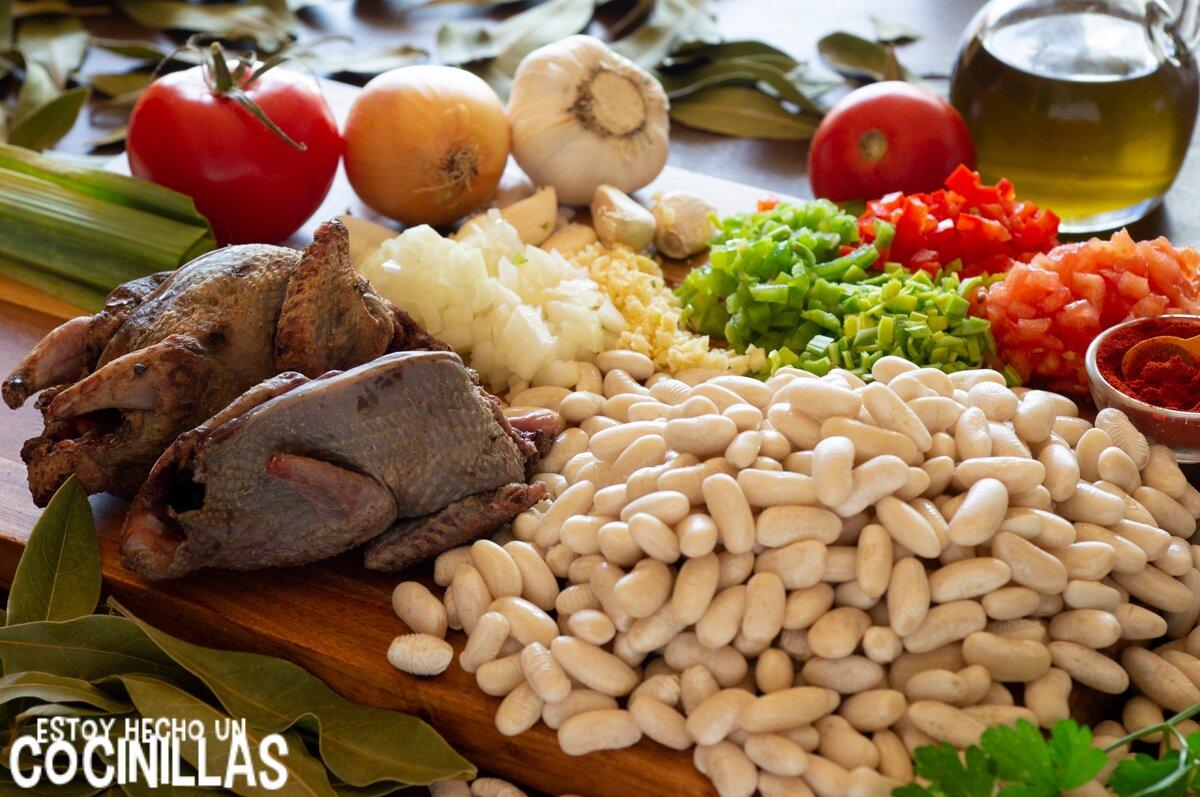 Ingredientes potaje de alubias con codorniz, tórtola, perdiz o paloma