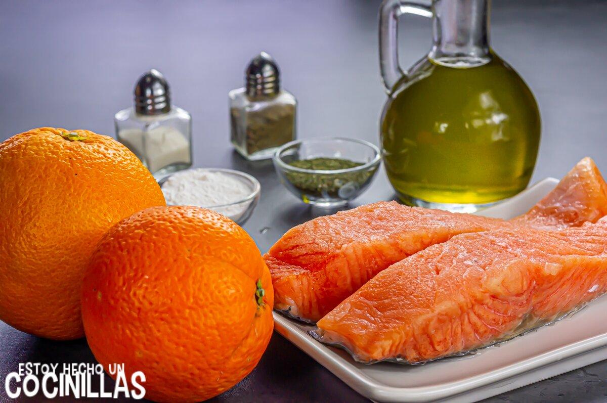 Ingredientes salmón a la naranja con eneldo sin nata