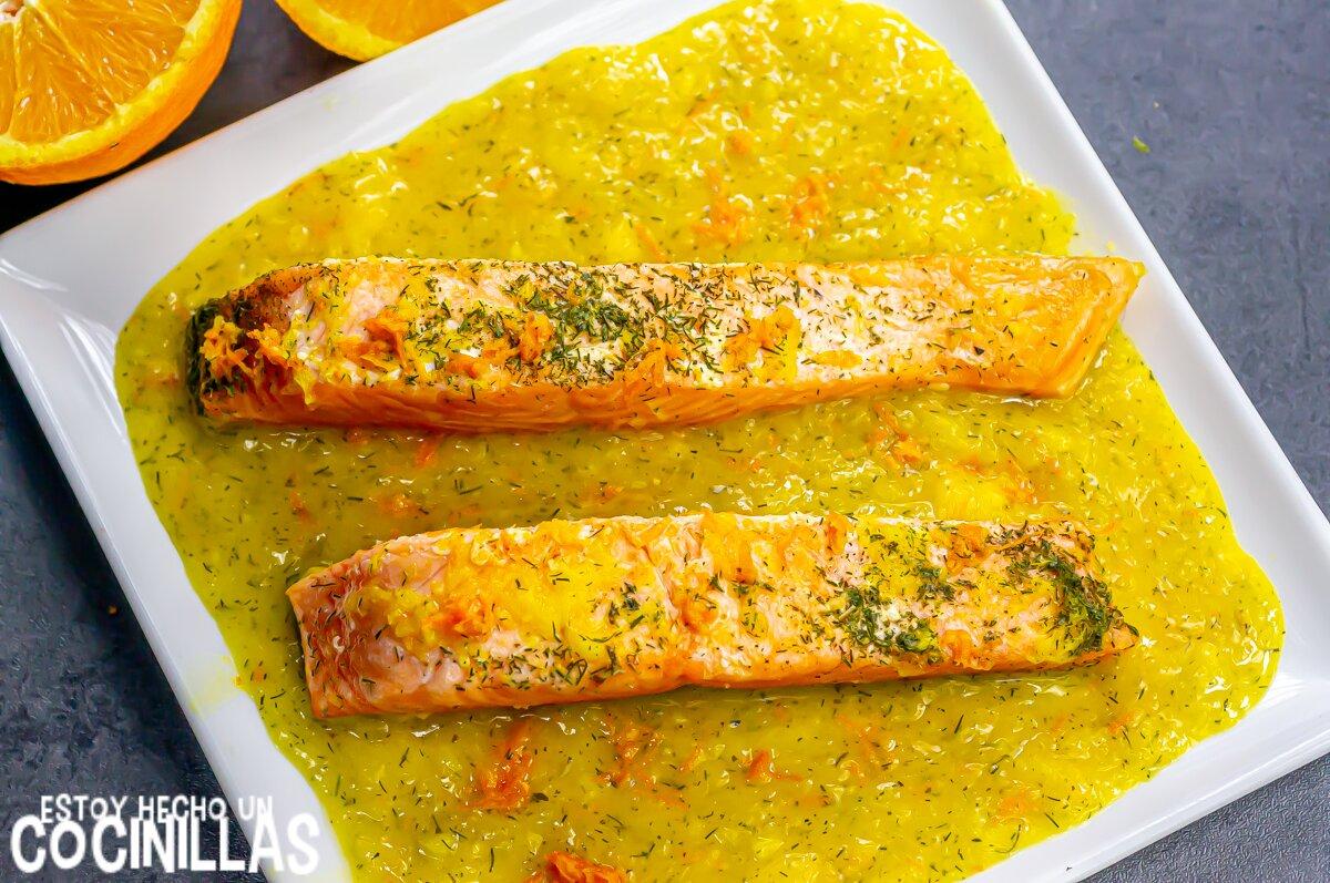 Receta salmón a la naranja con eneldo sin nata