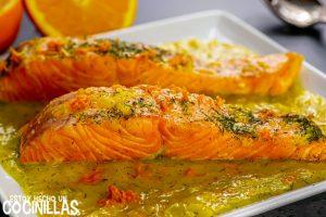 Salmón a la naranja con eneldo (sin nata)