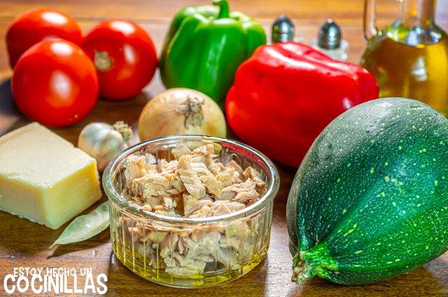 Calabacines rellenos de atún (ingredientes)