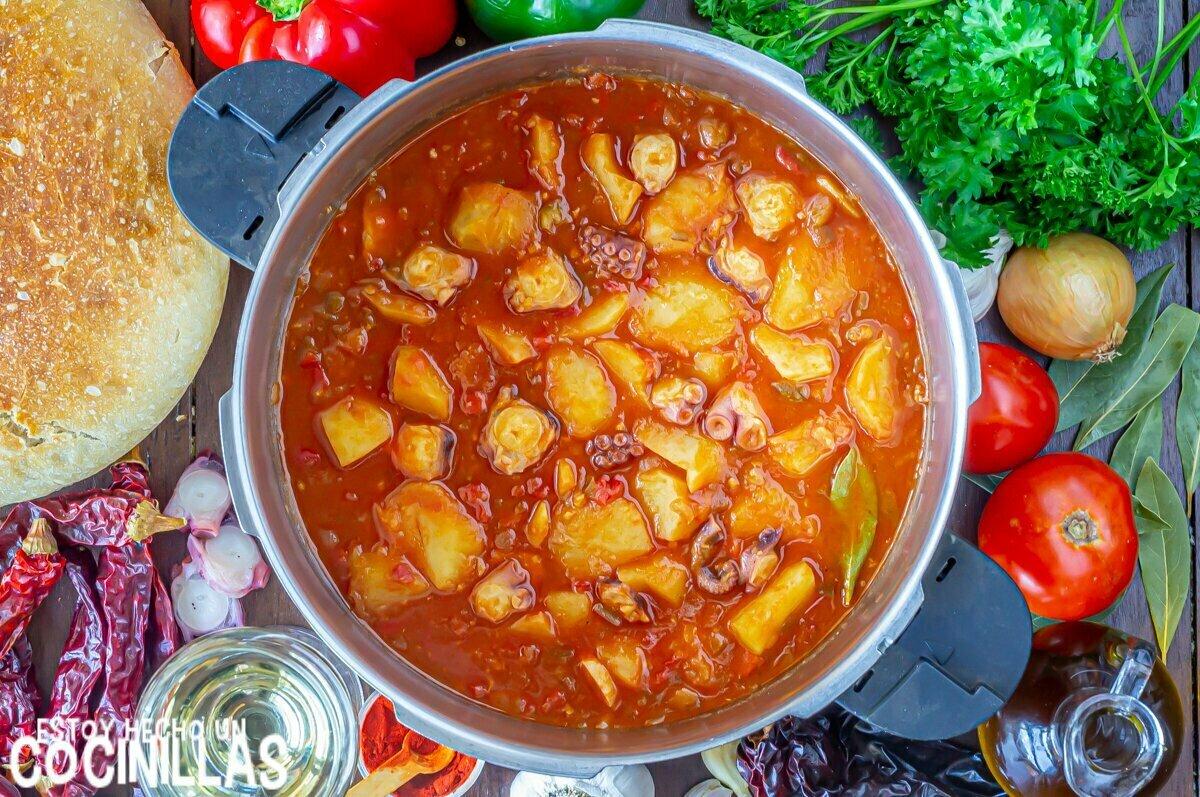 Cómo hacer guiso de patatas con pulpo