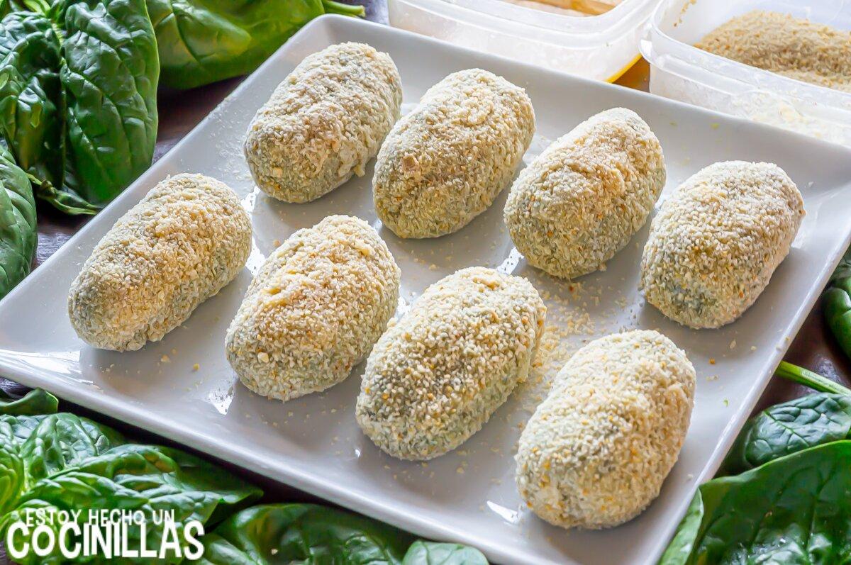 Empanado de las croquetas de espinacas