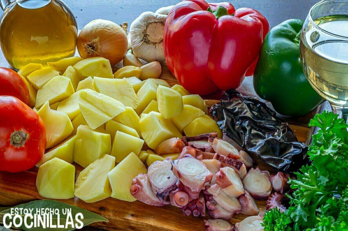 Guiso de patatas con pulpo (ingredientes)