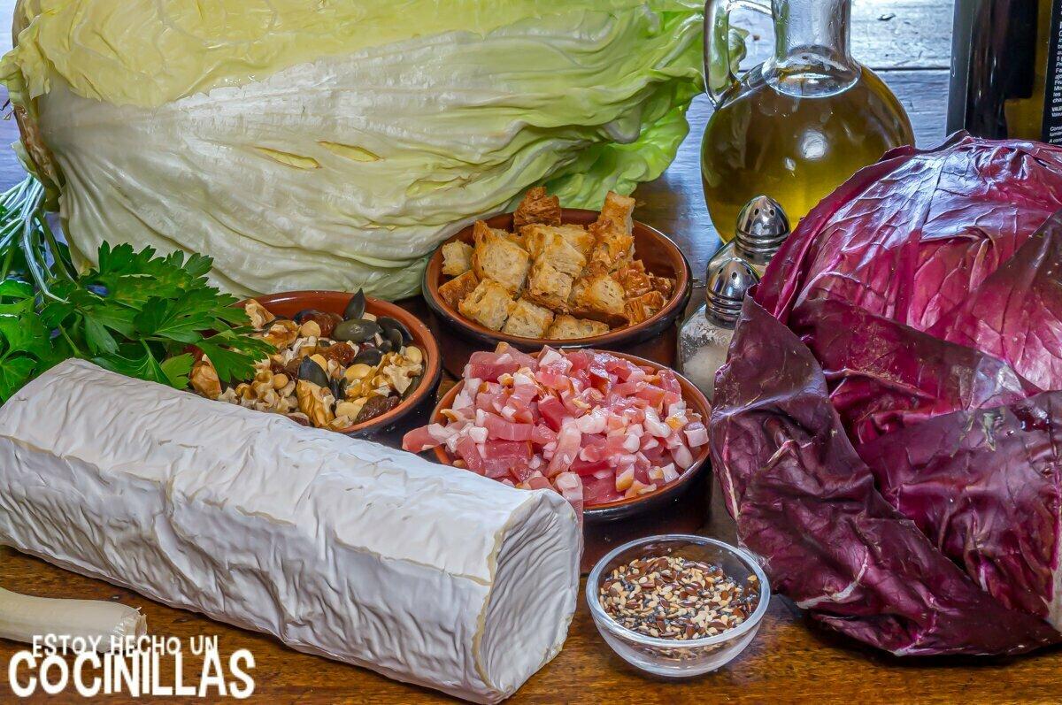 Ingredientes ensalada con queso de cabra, frutos secos y semillas