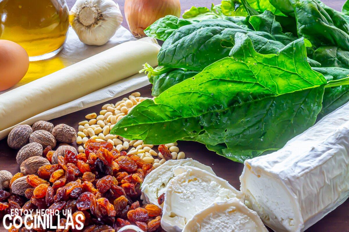 Ingredientes para hojaldre de espinacas y queso de cabra