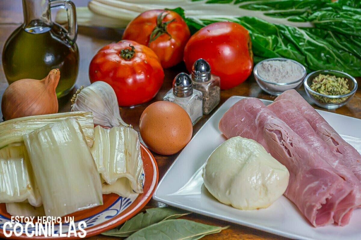 Ingredientes para pencas de acelga rellenas de jamón y queso