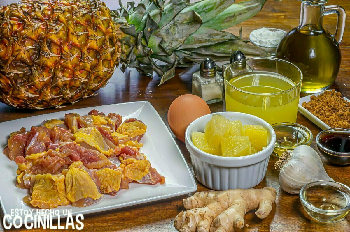 Ingredientes pollo con piña estilo chino