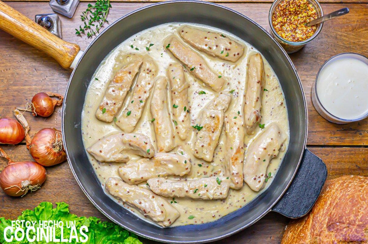 Lomos de conejo en salsa a la mostaza