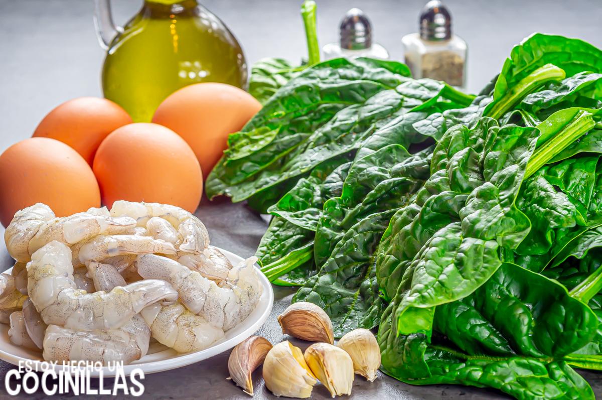 Revuelto de espinacas con gambas (ingredientes)