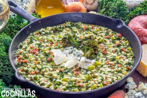 Risotto d esalchichas con col kale y queso azul