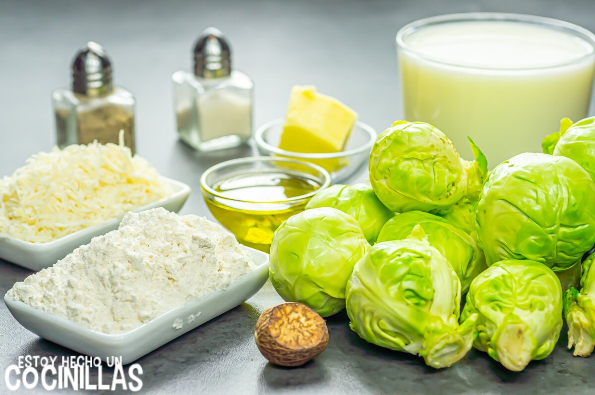 Coles de Bruselas con bechamel (ingredientes)