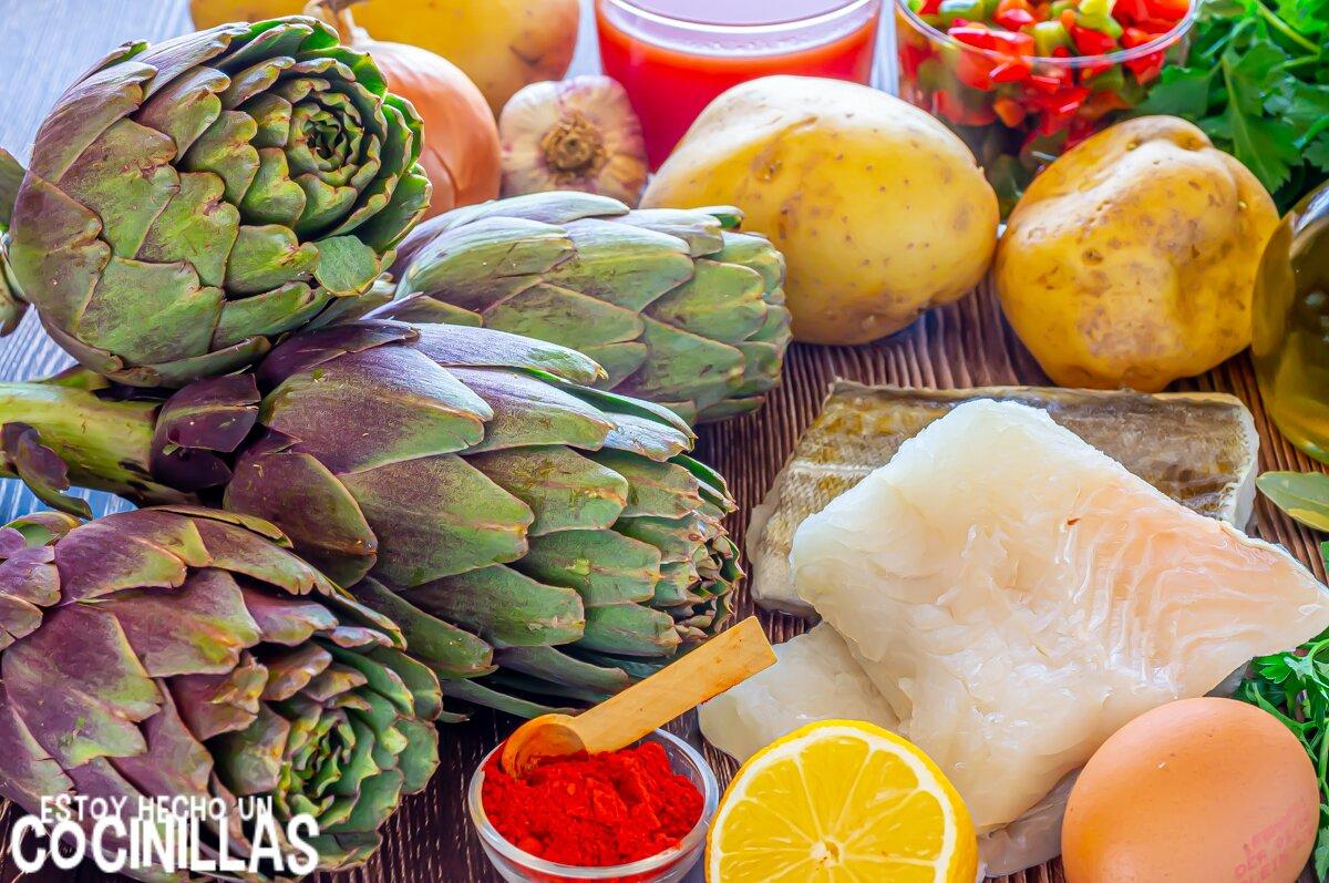 Guiso de patatas con bacalao y alcachofas (ingredientes)