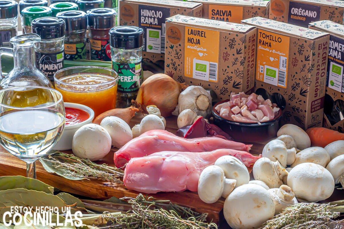 Ingredientes conejo guisado a la cazadora