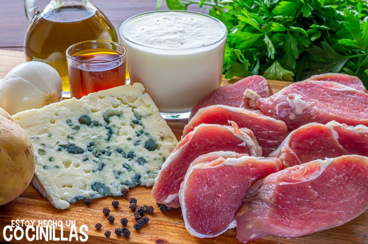 Ingredientes solomillo de cerdo con salsa de roquefort