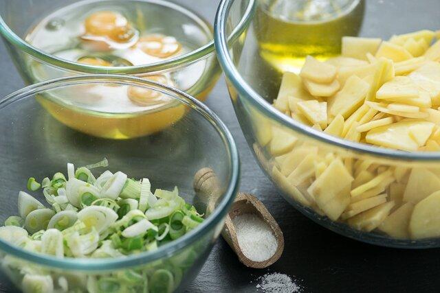 Tortilla de patatas con cebolleta (ingredientes)
