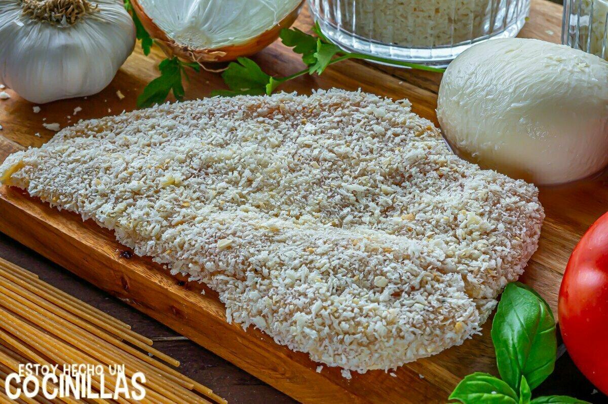 Filete empanado para pollo a la parmesana