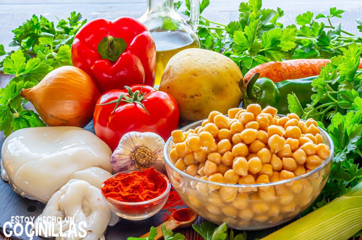 Ingredientes potaje de garbanzos con sepia o choco