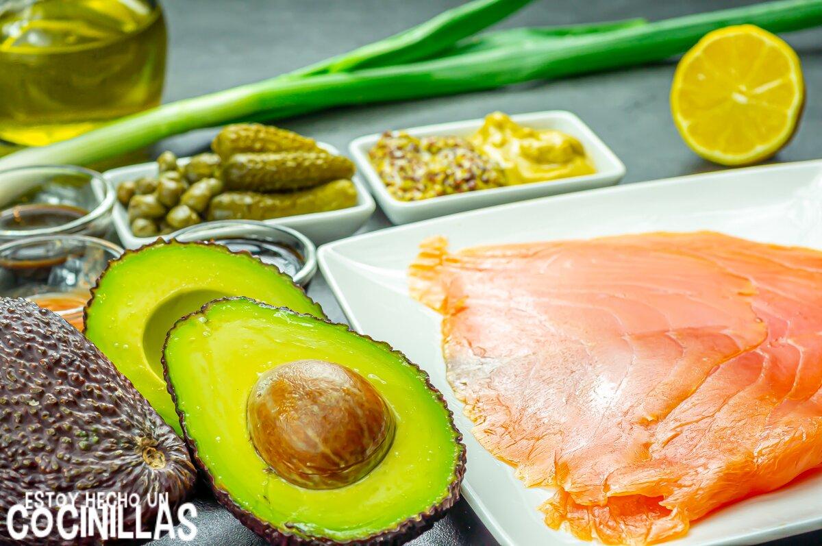 Tartar de salmón ahumado y aguacate (ingredientes)
