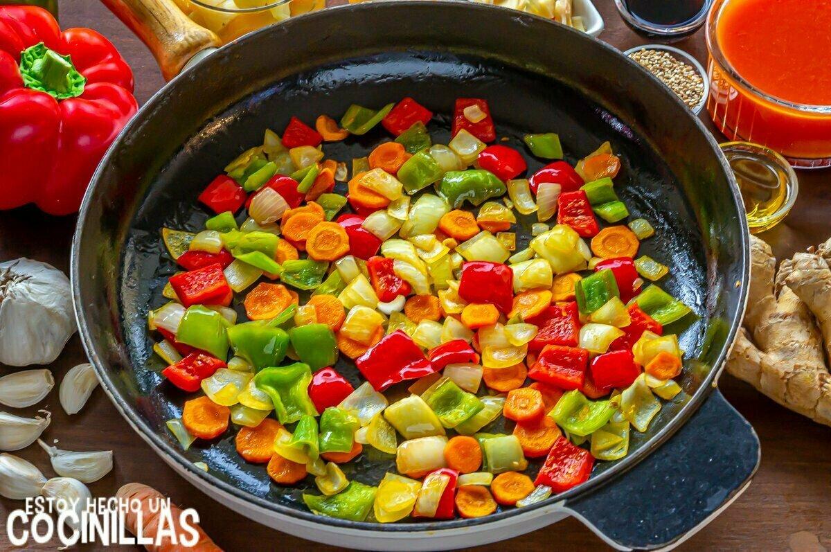 Verduras para pollo agridulce
