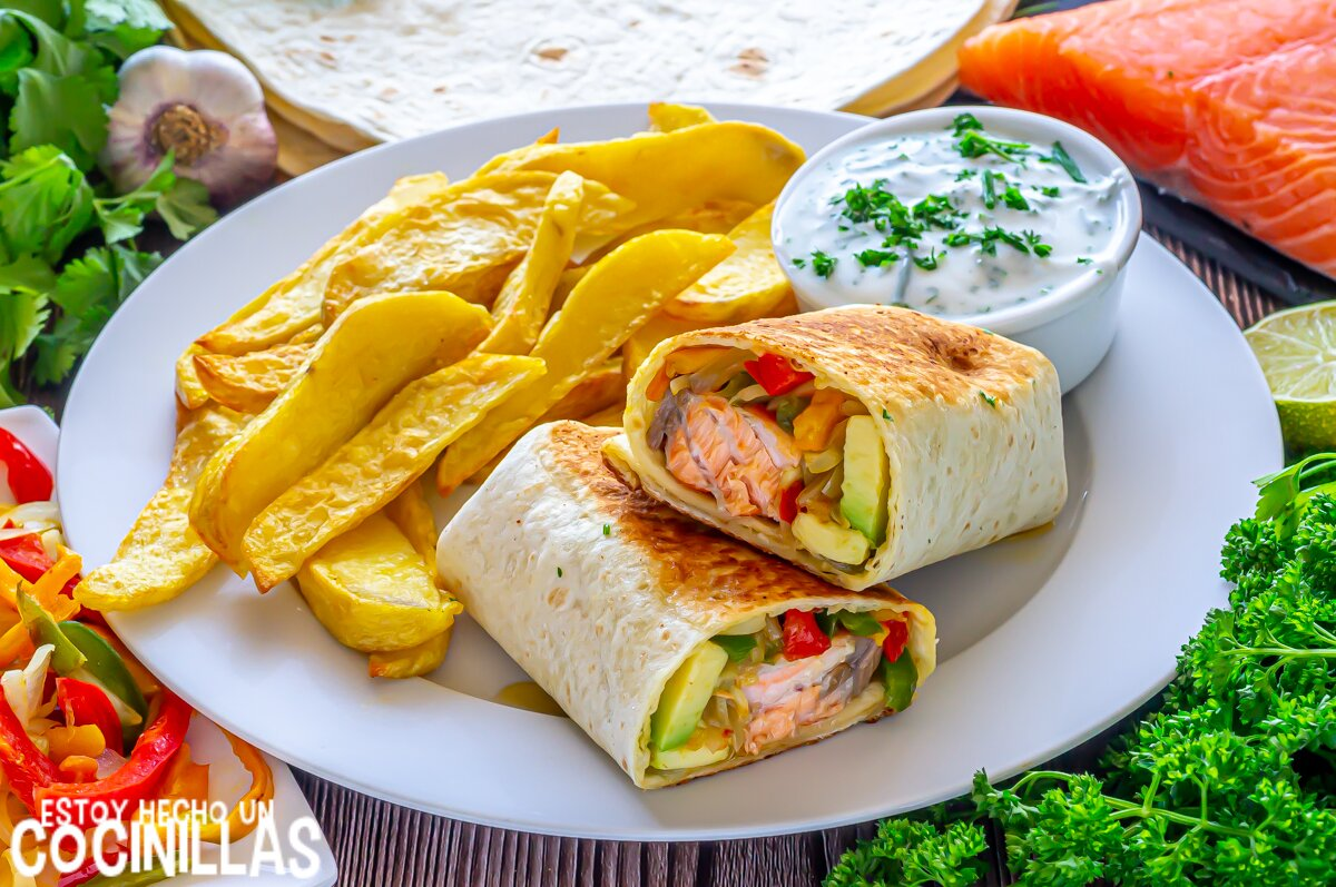 Burritos de salmón y verduras