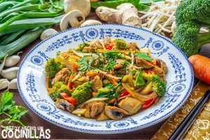 Chop suey de pollo (wok de verduras con pollo)