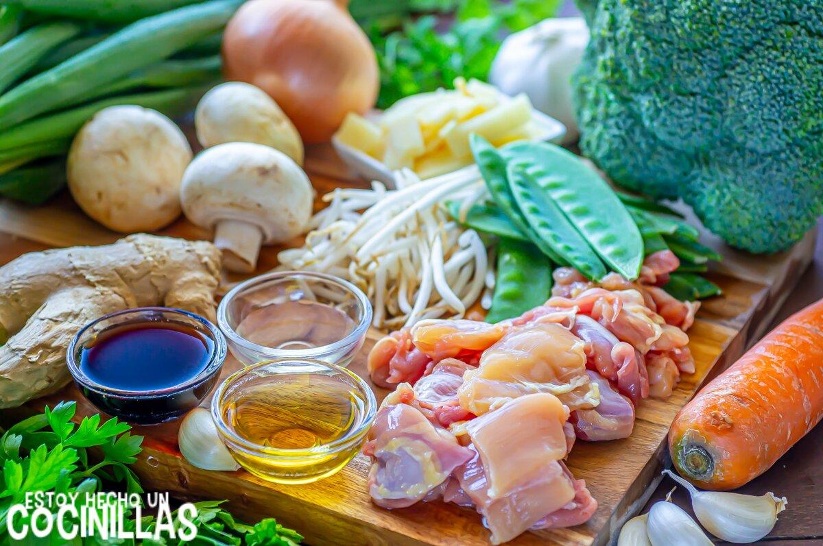 Ingredientes chop suey de pollo (wok de verduras con pollo)