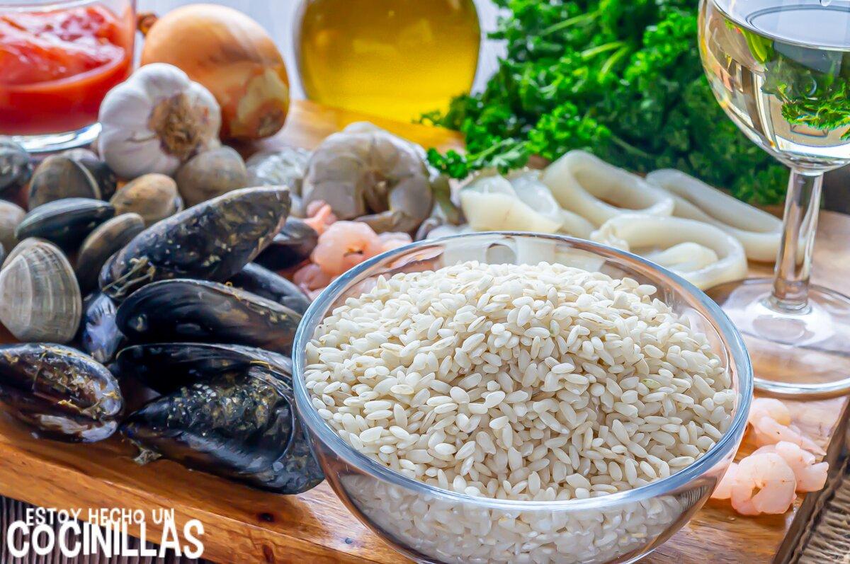 Ingredientes risotto de marisco (frutti di mare)