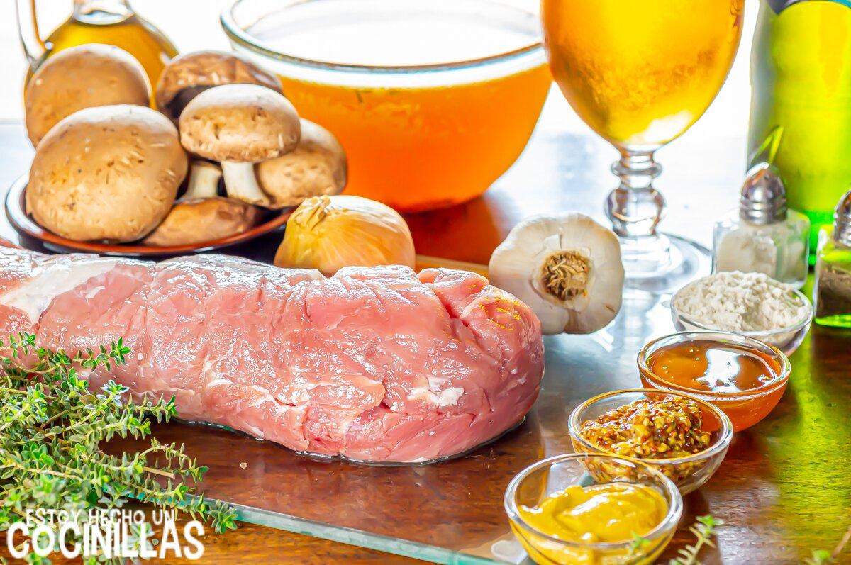 Ingredientes solomillo de cerdo con salsa de mostaza, miel y cerveza