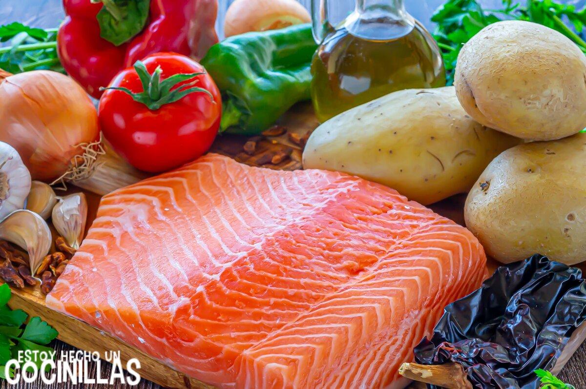 Marmitako de salmón (ingredientes)