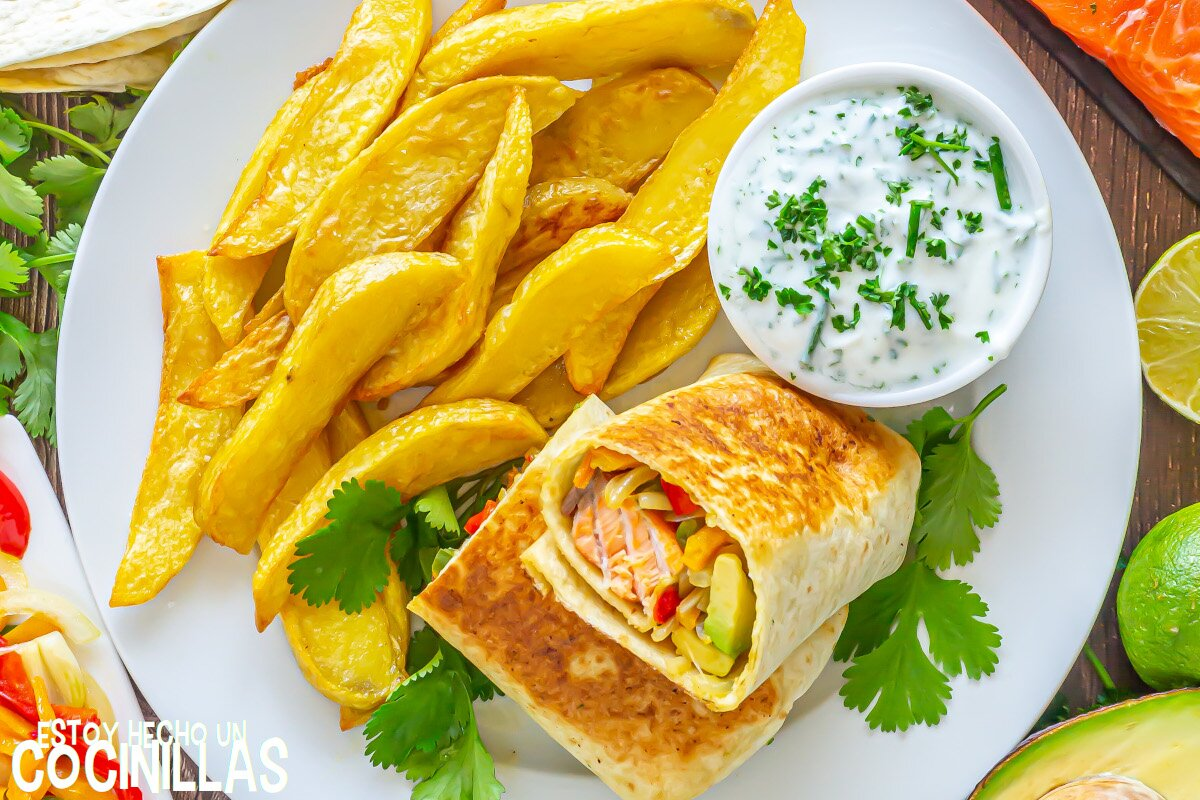 Receta burritos de salmón y verduras