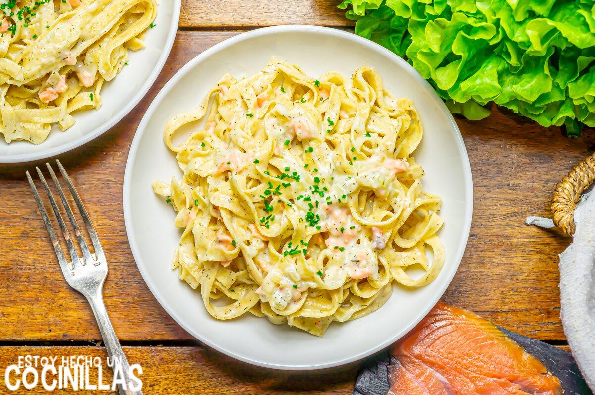 Receta pasta con salmón ahumado y nata