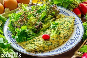 Tortilla francesa de hojas de rábano