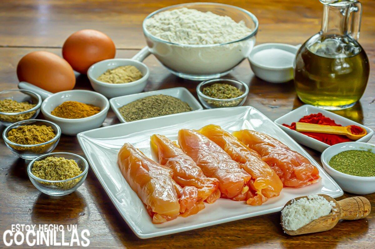 Ingredientes para tiras de pollo estilo Kentucky con rebozado crujiente