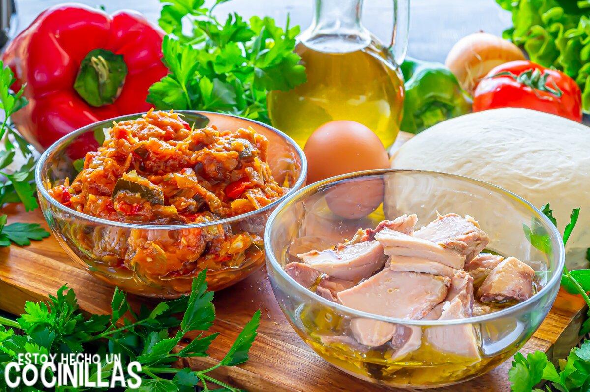 Ingredientes para la empanada de atún, pisto y huevo